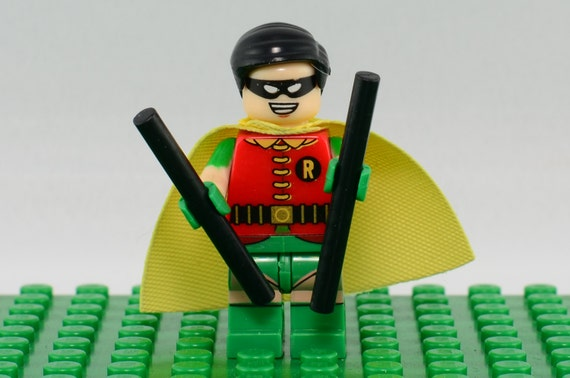 Robin Custom minifigure (Lego Compatible) DC Comics Batman Sidekick Superhero Dick Grayson Young Justice Teen Titans Nightwing Christmas #4