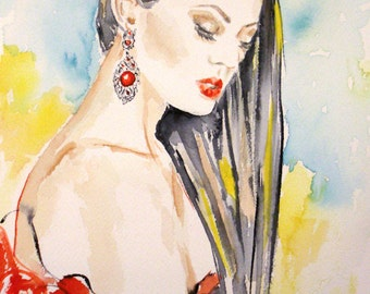 Original fashion painting,fashion watrecolor,fashion art,red dress,woman in red,watercolor portrait,woman portrait,colorful watercolor