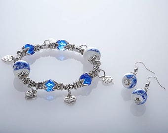 Ladies Bracelet Made With Love Charm Bracelet & Free Matching Earrings