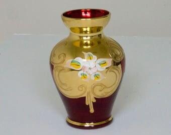 Vintage Fenton ruby glass hand painted vase