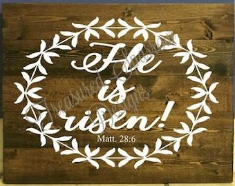 He is risen. Matthew 28:6 wooden pallet sign, Easter, Inspirational, faith, home decor, wall decor, wall hanging