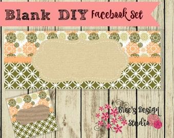 Instant Download Blank DIY Facebook Timeline Cover Set - Burlap and Flowers- Premade