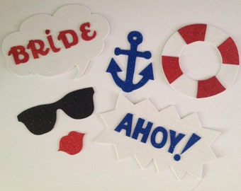 6 -Nautical photo booth props- Nautical Party-Glitter photo booth props - Bride to be - Nautical photo booth-Bachelorette photobooth