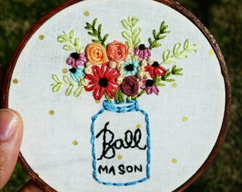Mason Jar Bouquet • Hand Embroidery