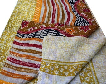 Indian Vintage Kantha Quilt, Kantha blanket, Patchwork throw, Reversible quilt and Indian tapestry