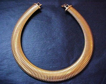 Monet Omega Ribbed Snake Gold Choker Necklace Egyptian Revival vintage