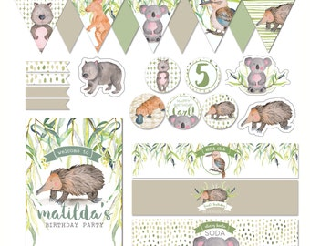 Australian Wildlife Customisable Printables Party Pack