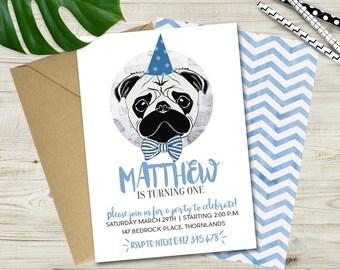 Boys Party Pug Invitation