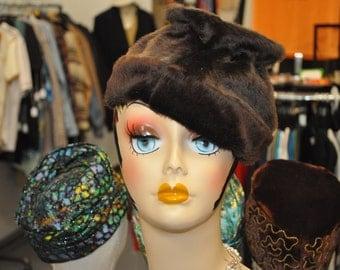 Vintage 1960s Brown Faux Fur Cone-Shaped Hat
