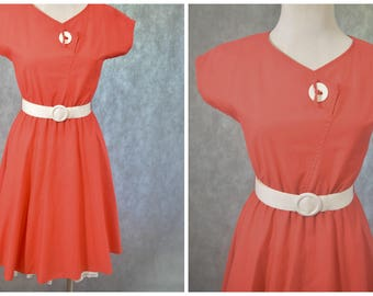 Vintage Red Dress | 1950s Style Dress | 1970s Does 1950s | Red and White One Button Swing Dress