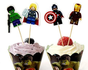 12 set Lego Avengers inspired Cupcake toppers & wrappers,ironman cupcake toppers,Captain america toppers,Hulk Lego avengers party decoration