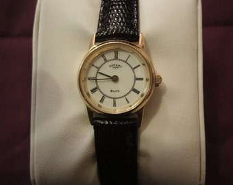Ladies ROTARY ELITE 18K Gold watch with leather black strap