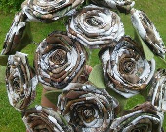 Camo Fabric Rose, Camo Flowers, Limited Time Price, Camo Fall Wedding Flowers, Rustic Wedding, Fall Bride Bouquet, Camo Bride, Camo Bouquet