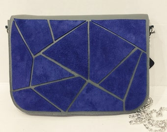 Green leather handbag with blue suede geometric pattern, Geometric leather clutch, geometric leather handbag, geometric crossbody bag