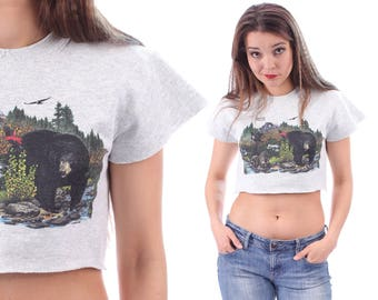 Bear Shirt Animal Crop Top 80s Cut off Crop Shirt 80s Black Bear Graphic Print Grey Cotton Cropped Raw Edges Tee 1990s Vintage XS Small
