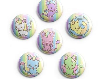 Chibi cat family badge set x6 Pins & Pinback Buttons neko pastel goth kawaii gift kittens