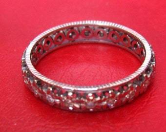 Gold wedding ring grey and diamonds - size 55