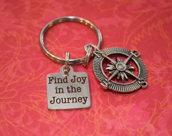 Find joy in the journey keychain-compass, graduation gift
