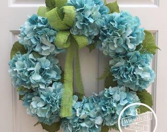Hydrangea Wreath, Summer Wreath, Blue Wreath, Front Door Wreath, Wreath Street Floral, Grapevine Wreath, Everyday Wreath, Year Round Wreath