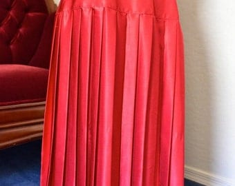 Vintage Red Pleated Skirt