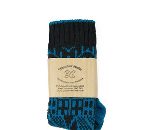 Cashmere knitted socks - Hebden Houses fairisle pattern - luxury knitted socks - charcoal black - cashmere & lambswool