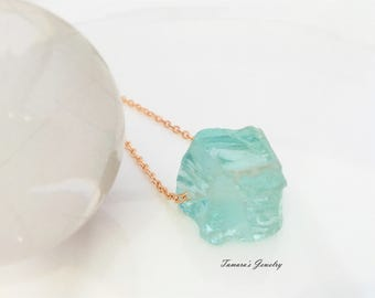 Raw Aquamarine Necklace/Rough Aquamarine Pendant/March Birthstone Necklace/Crystal Nugget/Boho Style Layering Jewelry/Rose Gold Layering