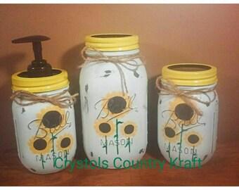 Sunflower Kitchen Set , Soap Dispenser, Sugar Jar, Utensil Jar , Sunflower  Vase,