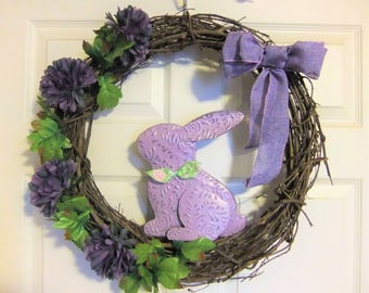 Wreath Easter Grapevine Rabbit Handmade Lavender Flowers Floral 18""
