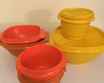 Vintage Tupperware lot, yellow Tupperware bowls, orange Tupperware, set of 6 bowls and 2 lids, mismatched Tupperware
