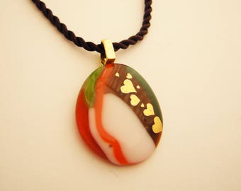 GOLDEN HEARTS Fused Glass Pendant