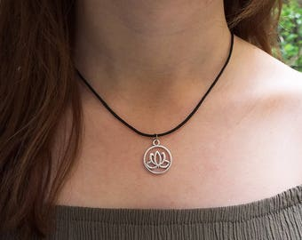 Lotus flower indian mantra ohm symbol flower charm pendant necklace hippie boho bohomian witch wiccan fairy grunge
