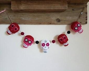 Sugar skull garland, bunting, valentines, emo, love, felt, photo prop, wall hanging, glitter, skull and crossbones, party decorations.