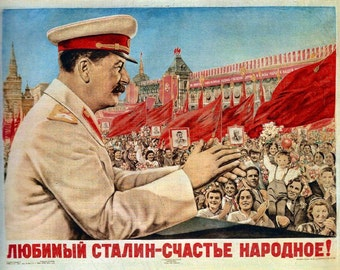 Vintage Russian Propaganda Poster Stalin USSR Red Communist War Retro Art Print A3 A4