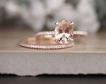Morganite Engagement Ring and Diamond Half Eternity Bridal Ring Set with Oval 9x7mm Peach Pink Morganite in 14k Rose Gold, Wedding Band
