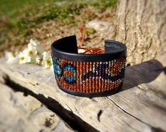 Hand beaded leather cuff bracelets