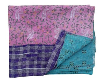 Handmade Sari Patchwork Kantha Throw Indian Cotton Kantha Quilt