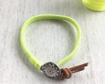 Leather Wrap Bracelet neon yellow- wrap bracelet, boho bracelet, friendship bracelet, kids accessories, bracelet, jewelry, spring bracelet