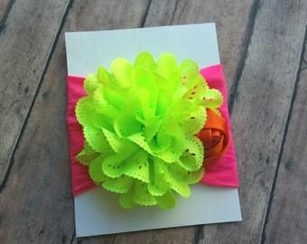 Neon Nylon headband - newborn nylon headband - girl nylon headband - neon summer nylon headband - baby shower gift - birthday headband