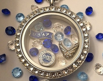 United States Air Force Locket-Creatively Crafted Floating Lockets-The Copper Closet-FREE Shipping!