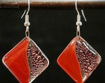 Deep Passion Fused Glass Earrings
