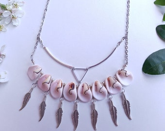 Bohemian ethnic necklace, necklace white natural shells, feathers, triangle necklace