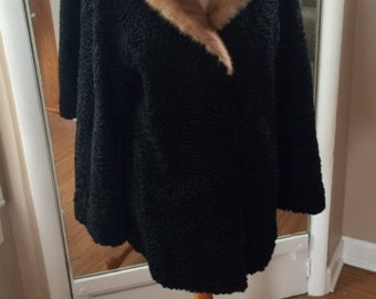 gorgeous vintage 1950s black persian lamb with autumn mink shawl collar swing jacket