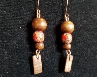 Wood and Stone Earrings