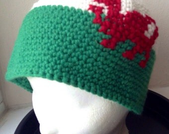 Crochet beanie with Wales lion