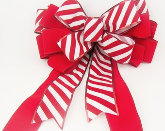 Outdoor Christmas Bow / Red and White Stripe