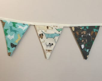 Bunting, fabric bunting, cottage chic, garland, reversible, shabby chic, country kitchen, pennant, decorative flag, dog image, animal loving