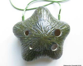 Starfish Ocarina, Musical Instrument, handmade in Ukraine, Eco Product, Home Decor, Gift, Ocean Theme, Sea