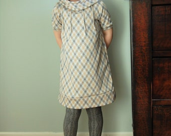Argyle Gray/Tan/Cream Short Sleeve Dress,