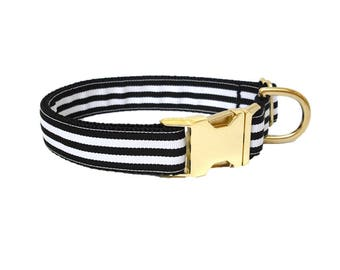 KATE SPADE-Inspired Dog Collar   CLASSIC Black and White Stripes