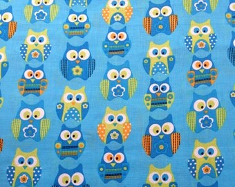 STACKED OWLS Novelty Owl Bird Animal Craft Kids Childrens Boys Girls Baby BLue Green Orange White Cotton Fabric